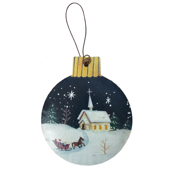 Other - Round Christmas Scene Rustic Ornament
